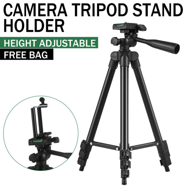 Professional Adjustable Black Camera Tripod Stand+Cell Phone Mount Holder+Bag