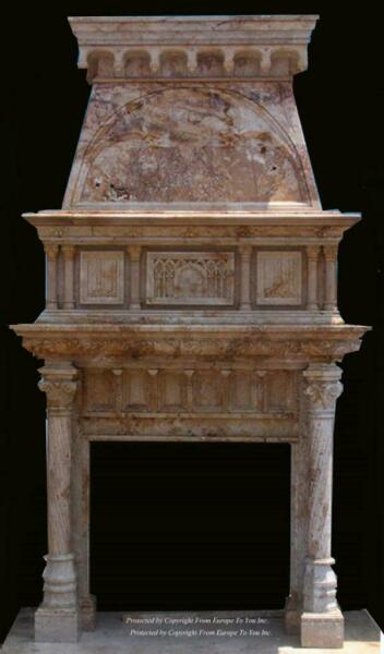 HAND CARVED MARBLE GOTHIC ESTATE CUSTOM FIREPLACE MANTEL - GM2