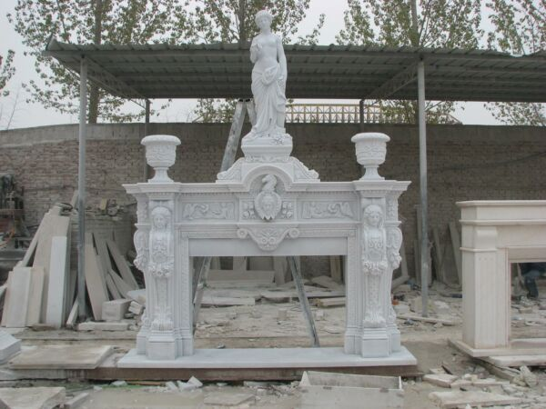 MONUMENTAL FIGURAL HAND CARVED MARBLE ESTATE FIREPLACE MANTEL - IMA1