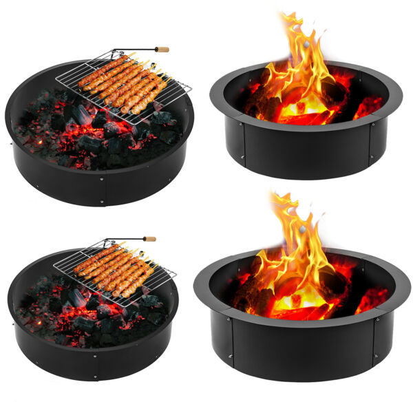 24quot; 36quot; 42quot; 45quot; Steel Fire Ring Campfire Pit Camping Park Grill Cooking Grate