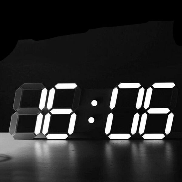 Digital Big Large 3D LED Wall Desk Clock Alarm Snooze Temperature Date 1224H US