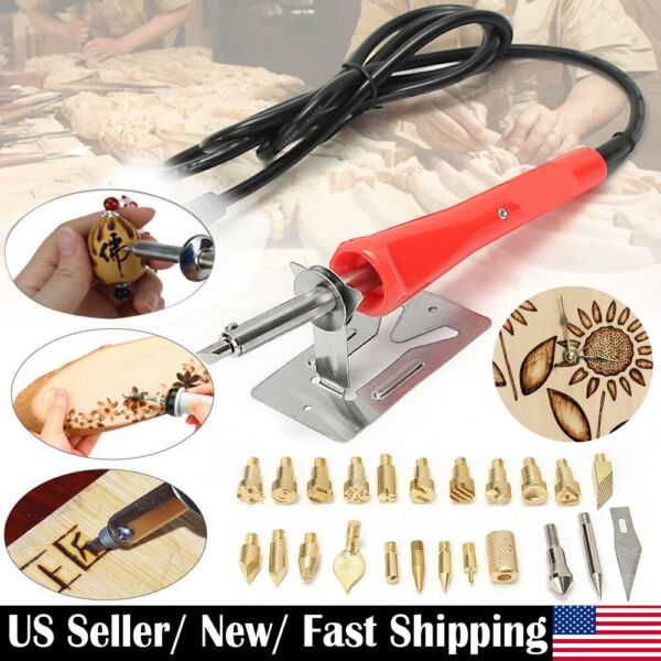 37Pcs 30W Wood Burning Pen Set Electric Soldering Iron Kit Iron Burner Hobby Kit