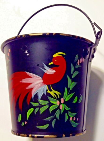 Tole Painted Bucket Sand Pail Red Bird Toleware Black Metal 5 14