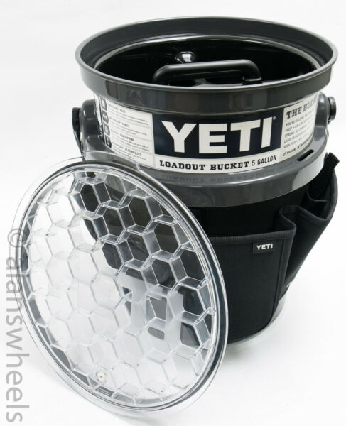 YETI Fully Loaded CHARCOAL Loadout 5 Gallon Bucket Pail with Lid Caddy Gear Belt