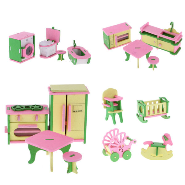 4 Sets Wooden Doll House Mini Kitchen Bathroom Baby Room Furniture Accessory