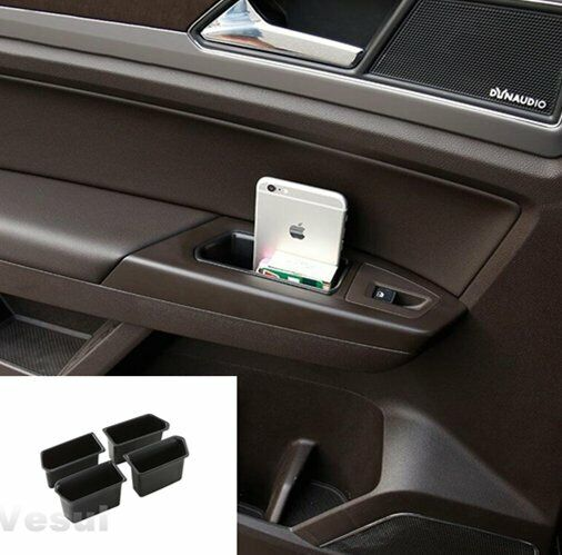 4PCS Fits VW Atlas 2018-2019 Front Rear Door Side storage Box Organizer Holder