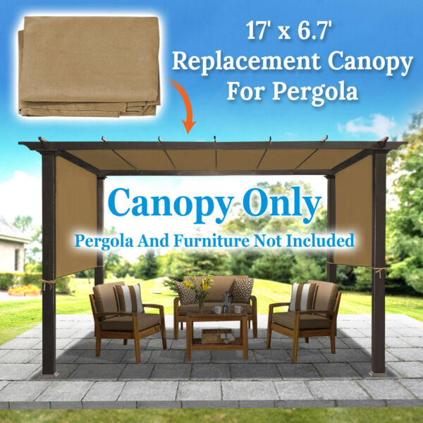 17ft x 6.75ft Replacement Canopy Top Cover for Pergola Gazebo Structure Sunshade