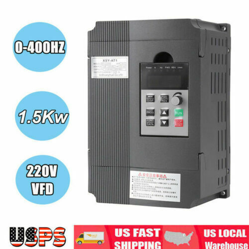 220V Single Phase To 3Three Phase Output Frequency Converter VFD 1.5KW AC Motor