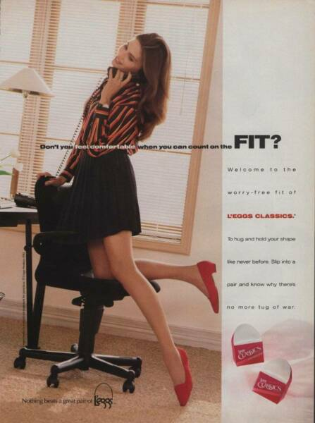 1992 L'eggs Pantyhose Vintage Magazine Ad Page Cute Girl Office Chair Sexy Legs