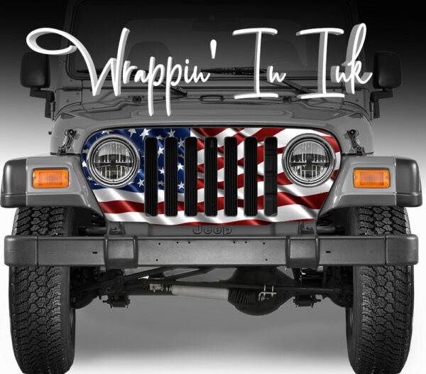 Jeep Grill Wrap American Flag Waving Red White Blue for Jeep Wrangler 1997-2006