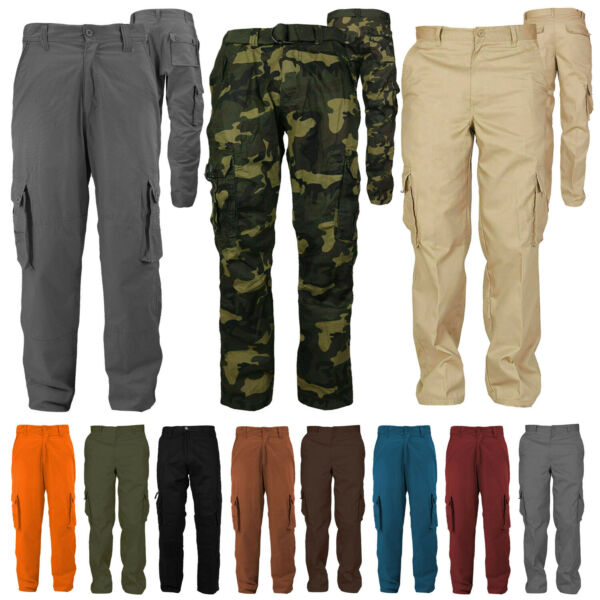 Men#x27;s Cotton Casual Tactical Utility Multi Pocket Cargo Military Work Pants