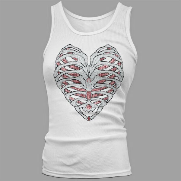 Twisted Envy Women#x27;s Rib Cage Heart Rhinestone Tank Top