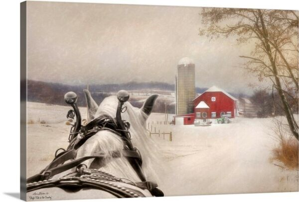 Sleigh Ride in the Country Canvas Wall Art Print Barn Home Decor