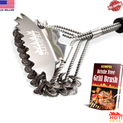 SUMPRI Grill Brush and Scraper Best Bristle Free Safe BBQ Grate Cleaner... New
