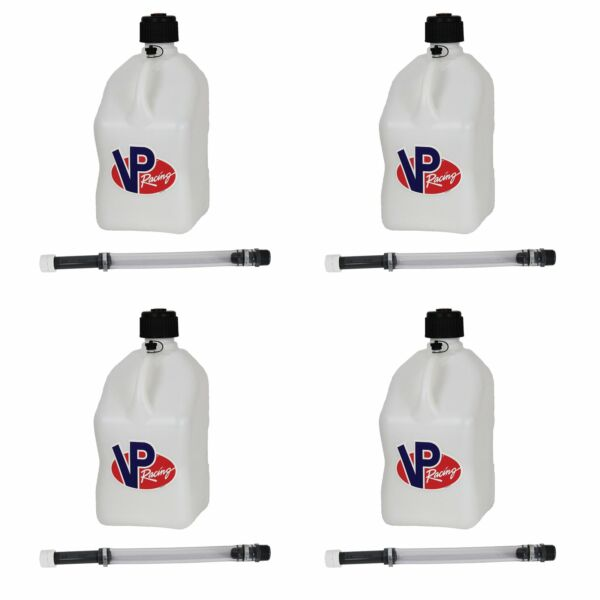 VP Racing 5 Gal Motorsport Racing Utility Jug Can Container amp; 14quot; Hose 4 Pack $112.99