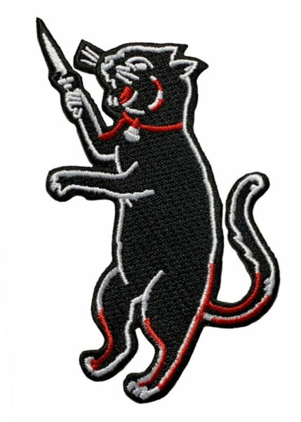 Black Cat with Knife Embroidered Iron on Sew on Patch [4.0 INCH - CT7]