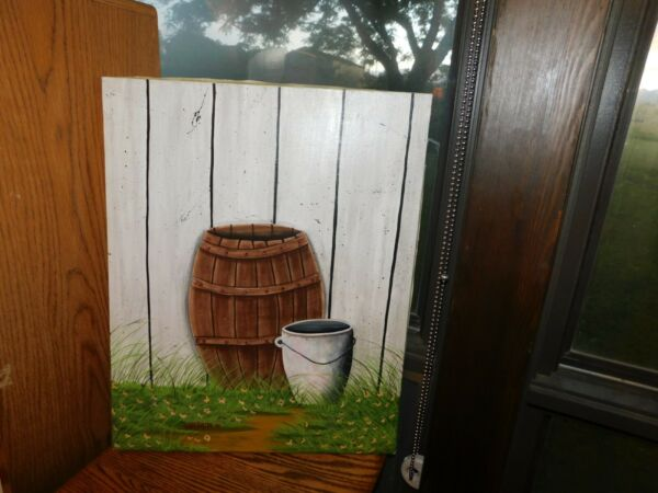 Whiskey Barrel and Pail Original Oil Painting Signed Garibaidi