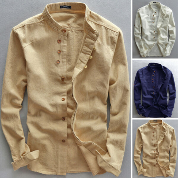 Men#x27;s Linen Style Long Sleeve Solid Shirts Casual Fit Formal Dress Top Tee Shirt GBP 10.01