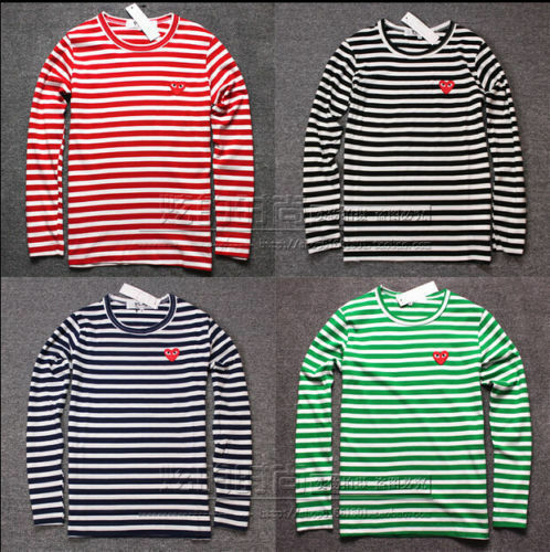 NEW STRIPED MEN'S WOMEN COMME DES GARCONS CDG PLAY RED HEART LONG SLEEVE T-SHIRT