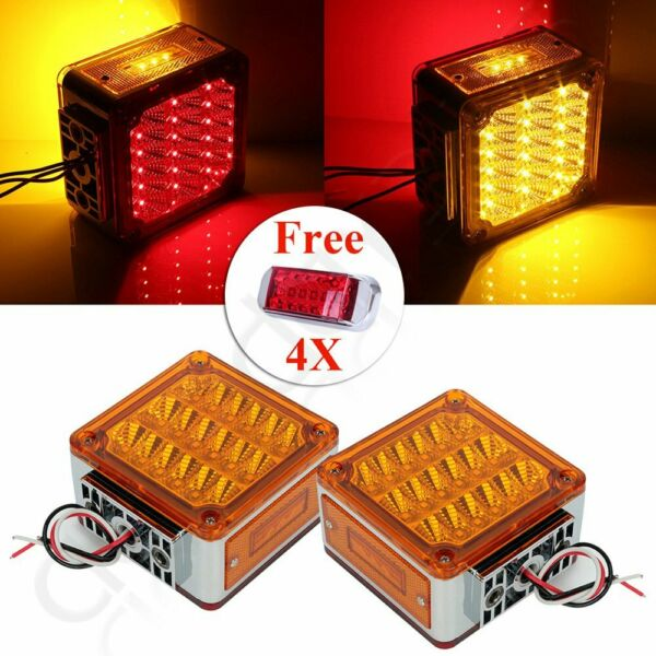2x 39 led yellow cover red amber tail turn signal + 4x 16 led red free light