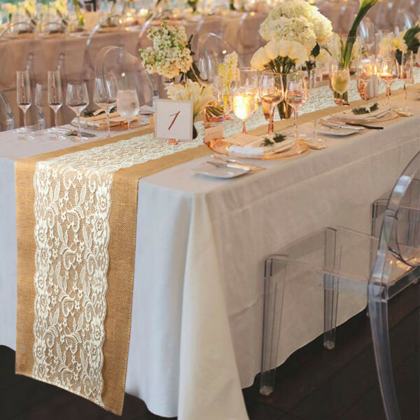 120pcs Burlap Lace Table Runner Table Cloth Hessian Wedding Party Home Decor