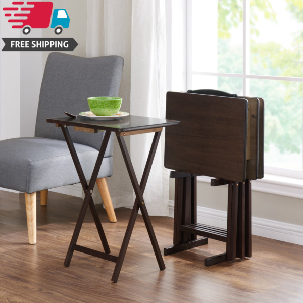 5 Piece Folding TV 4 Tray + Stand Set Wood Dinner Walnut Side Table Easy Clean