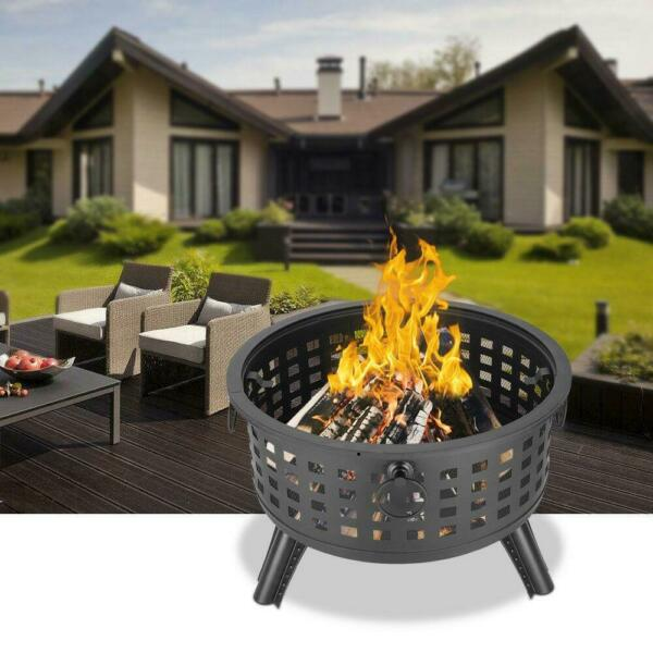 Large Outdoor Fire Pit Wood Burning Heater Backyard Patio Steel Bowl Fireplace