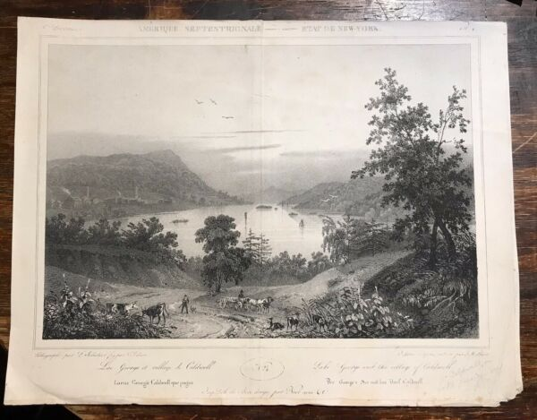 Lake George New York 1839 Antique Lithograph Milbert Sabatier