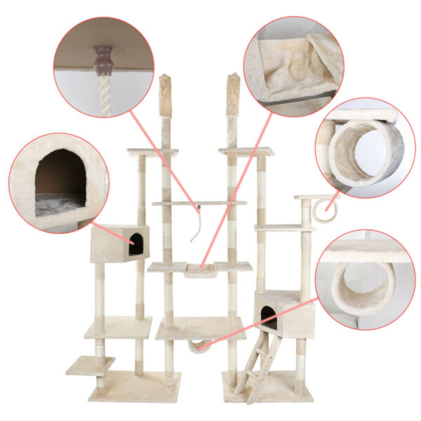 112.5quot; Cat Tree Condo Furniture Scratch Post Pet Play House Gym Tower Beige $149.99