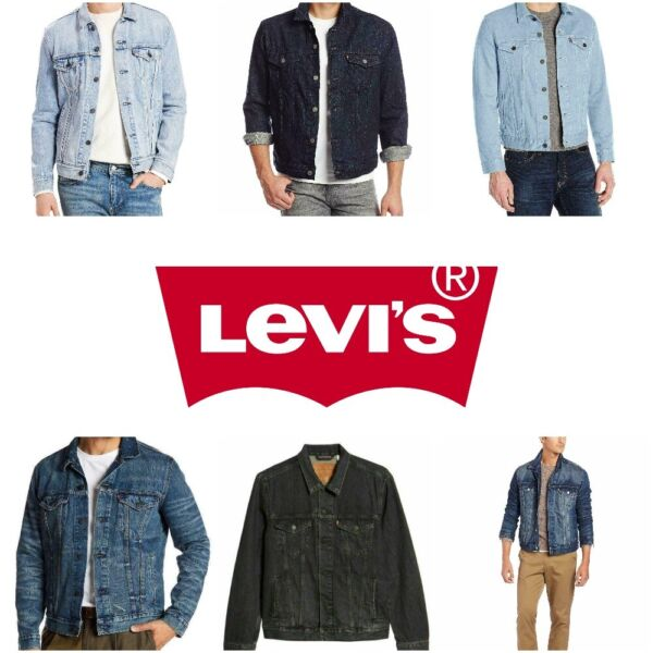 Levis Trucker Jacket Denim Men's Button Front S M L XL XXL Blue Gray Black White