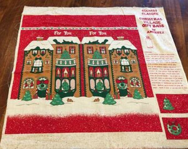 Fabric Vintage Panel Christmas House Wall Hanging Quilt Block