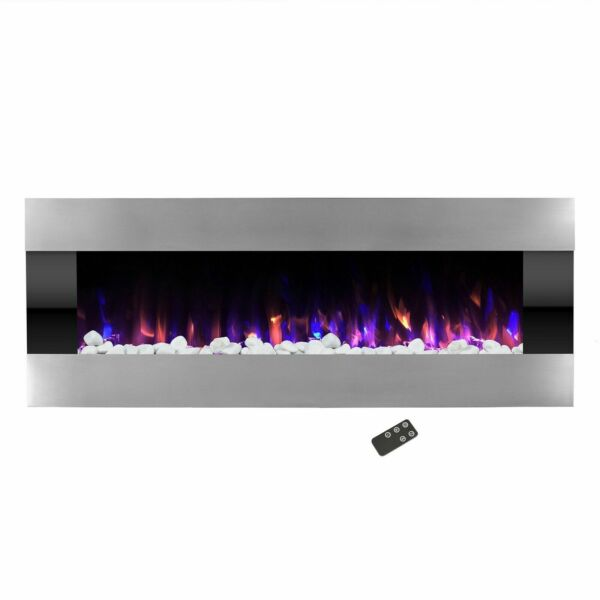 Stainless Steel Electric Fireplace with Wall Mount & Remote Fire and Ice 54 In