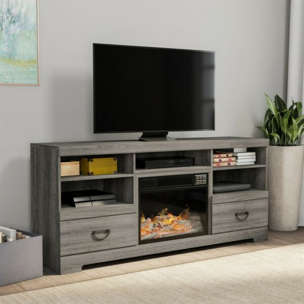Electric Fireplace TV Stand Entertainment Center Remote LED Flame Light 62 Inch