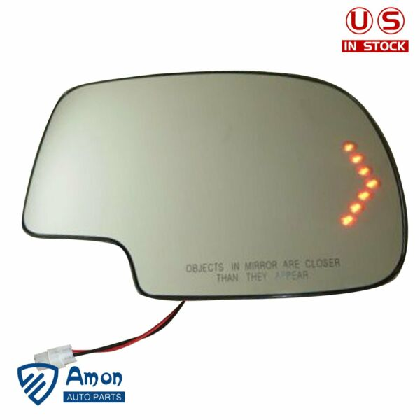 Heated LED Turn Signal Passenger Side Mirror Glass For 03-07 Chevy GMC Cadillac