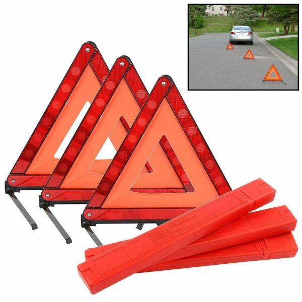 Triple Emergency Warning Triangle Reflector Road Roadside Sign Safety 3 Pack USA