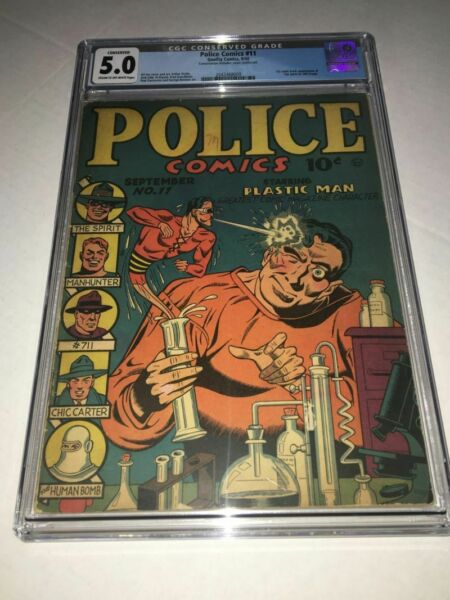 POLICE COMICS #11 (1942) CGC 5.0 VGF 1st appearance of the Spirit