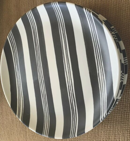 SET Of 5 Gray Stripe Hearth & Hand with Magnolia Melamine Dinner Plates