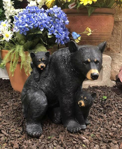 Large Realistic Forest Mother Black Bear With 2 Cubs Family Statue 12.25quot;Long