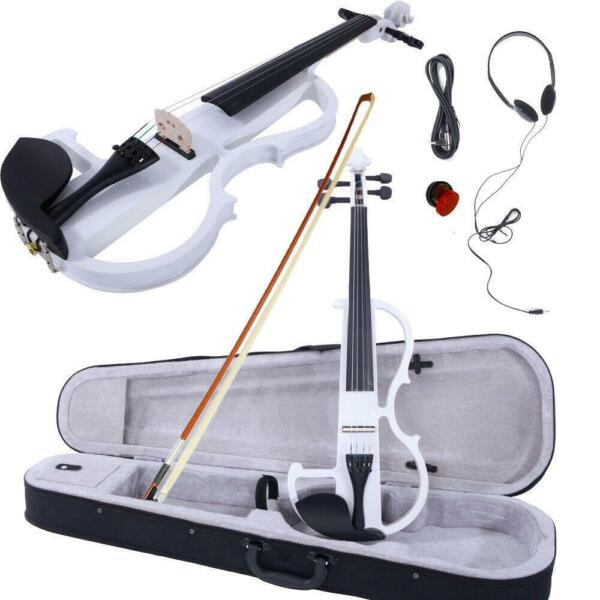 4 4 Electric Violin Set with CaseBowCableHeadphone White High Quality $54.83