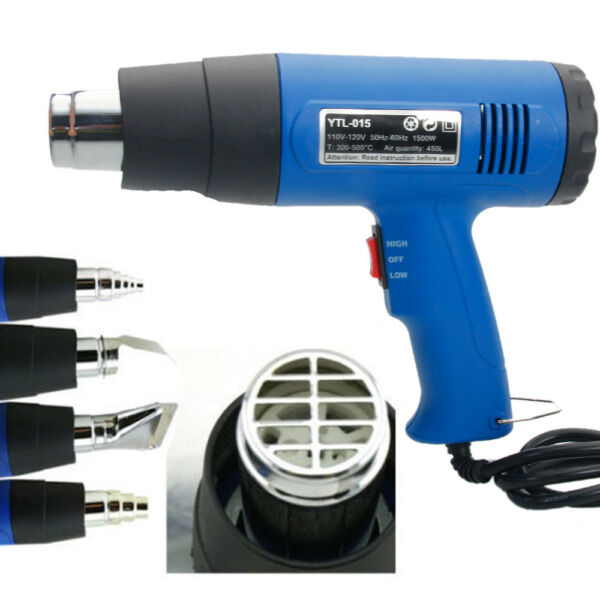 1500W Heat Gun Hot Air Gun Dual Temperature 4 Nozzles Power Tool Paint Stripper
