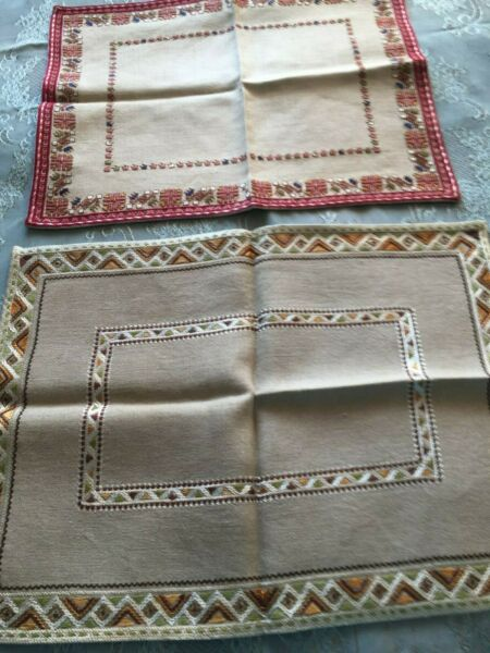 Two Beautiful Vintage Hand Embroidered Linen Tablecloths