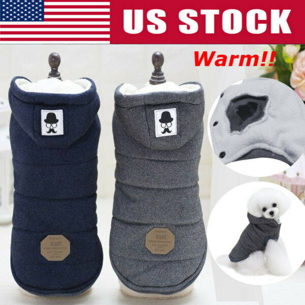 Pet Dog Cotton Padded Hooded Coat Puppy Winter Warm Jacket Sweater Apparel Coat