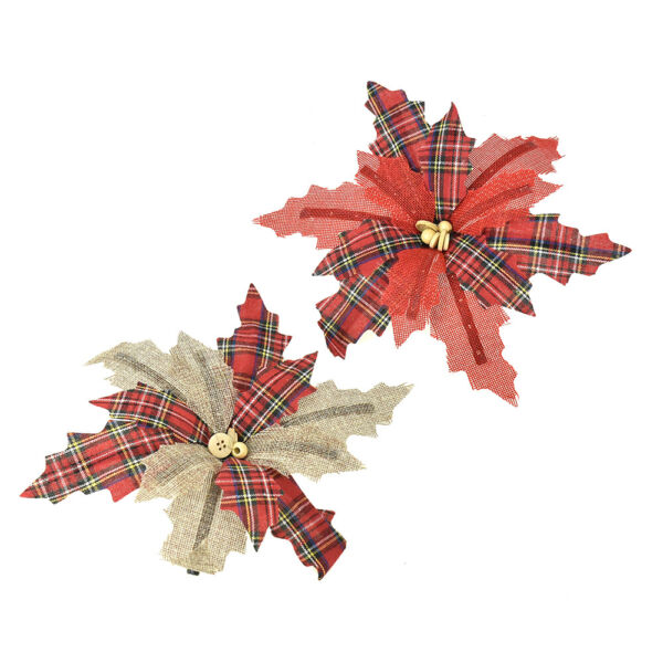 Burlap Poinsettia Clip On Christmas Tree Ornament Assorted Colors 9-Inch 2 pc