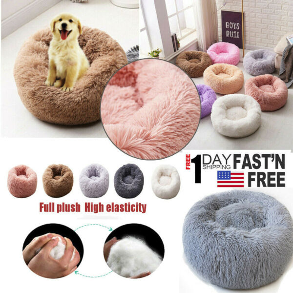 Pet Cat Kennel Calming Full Plush Dog Bed Round Nest Warm Comfortable Sleeping