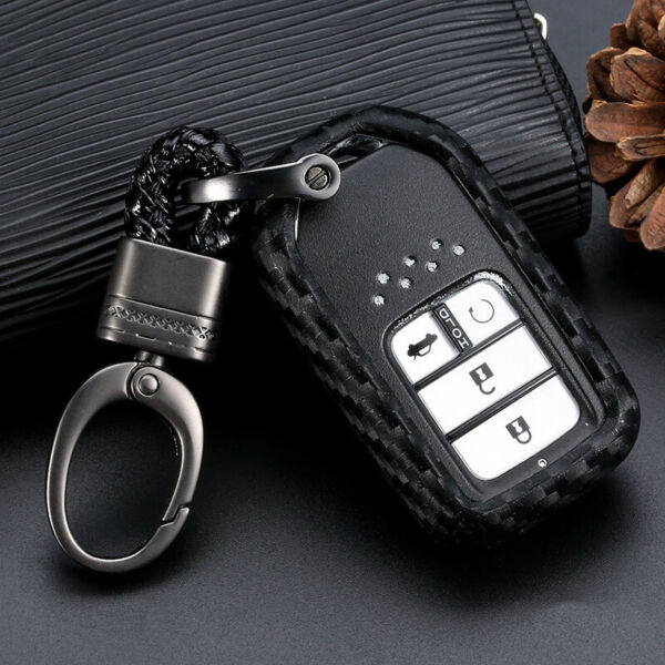 Carbon Fiber Car Key Case Accessories For Honda Accord CR-V HR-V Civic 1set USPS