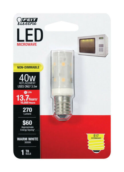 FEIT Electric 35 watts T8 LED Bulb 270 lumens Warm White Appliance 40 Watt