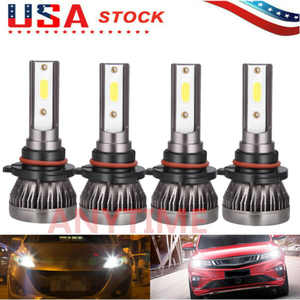 9005+9006 240W 25800LM Combo LED Headlight High Low Beam 6000K White 4 Bulbs Kit