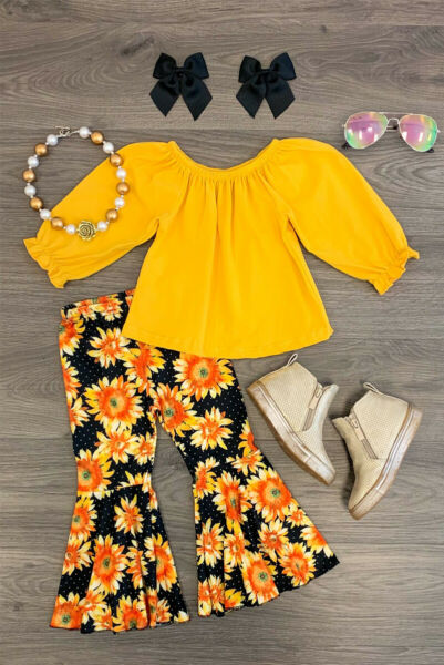 US 2Pcs Toddler Baby Girl Flower Tops Long Pants Outfit Clothes Tracksuit Autumn