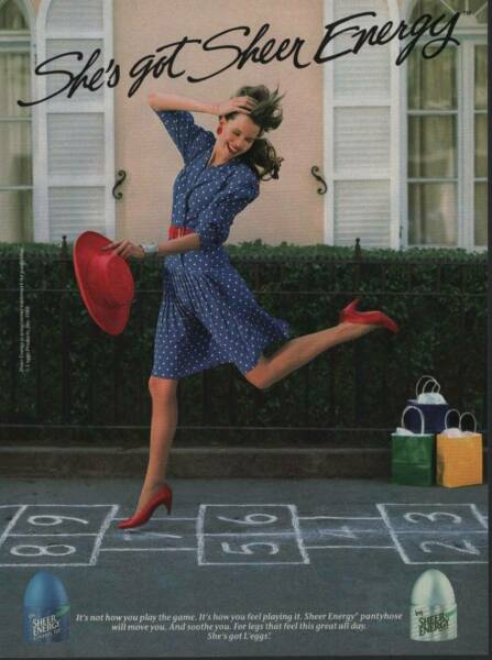 1989 L'eggs Pantyhose Vintage Magazine Ad Cute Girl Playing Hopscotch Sexy Legs