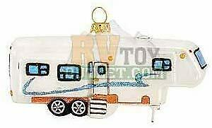Fifth Wheel trailer 5quot; 5th Wheel Trailer Glass Christmas Tree Ornament $20.49